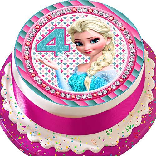 Cannellio Cakes vorgeschnittenen Essbarer Zuckerguss Cake Topper, 19,1cm rund Frozen ELSA Alter 44. Geburtstag