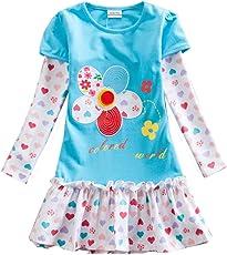 VIKITA Vestito Manica Lunga Cotone Bambina 2-6 anni