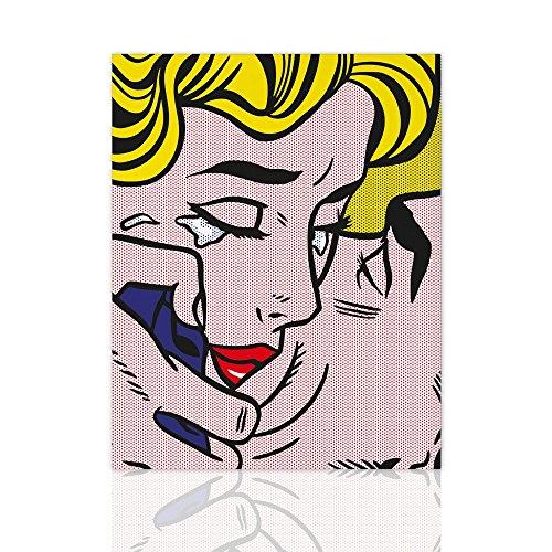 Malen auf Leinwand moderne Kiss-v Hommage Lichtenstein - Pop Art Canvas mit handgefertigten Holzrahmen - Design Colorscrazy