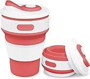 ROCONTRIP Faltbare Tasse, Silikon Becher Kaffee Camping Tasse Reise Geschenk Becher 350ml 100% Lebensmittelqualität Silikon B