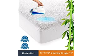 "OYO BABY Waterproof Mattress Protector Hypoallergenic Double Bed King Size Cover (White, 72""x78""xSkirting 12"")"
