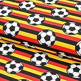 Brittschens Stoffe und Zutaten Stoff Jersey Baumwolljersey | Fußball Deutschlandflagge | WM Stoff | Meterware | Stoff Zum Nähen | Kinderstoff