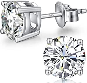 Jiahanzb 18K Oro Placcata Orecchini 925 Argento Sterlina Zirconi Simulato Diamante Brillanti per Donna Uomo 4-8 mm