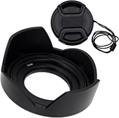 Fotodiox Reversible Lens Hood Kit for Sony E PZ 16-50mm F3.5-5.6 OSS E-Mount Power Zoom Lens, Reversible Tulip Flower Hood w/Cap f/Sony Kit Lenses