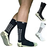 Ulalaza Unisex Anti Slip Sports Thicken Cushion Soccer Socks Non Skid Grippy Traction for Football Basketball Sports