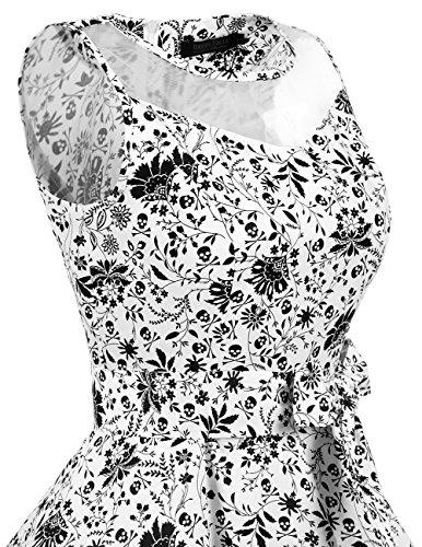 1950er Vintage Damenkleid Retro Pinup Rockabilly Festlich Partykleider Cocktailkleider White Skull
