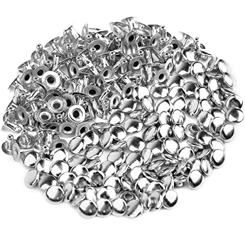 Halsband Leder Jacke (ULTNICE 100 Stück 6mm Rundnieten Metall Nieten für DIY Leder Schuhe Tasche Armband)