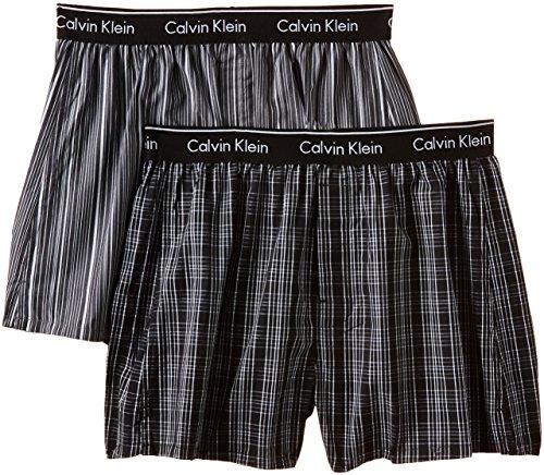 Calvin Klein Herren Boxershort WOVEN BOXER - 2P TRAD FIT BOXER, Mehrfarbig (Breslin Pld Blk - Gallahger S Kgw), Large (Unterwäsche Calvin Klein Baumwolle)