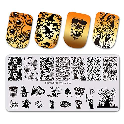 Beautybigbang Nagel Stamping Schablone Nail Art Plate Maniküre Totenkopf Skelett Ghost Spider Kürbis Halloween ()