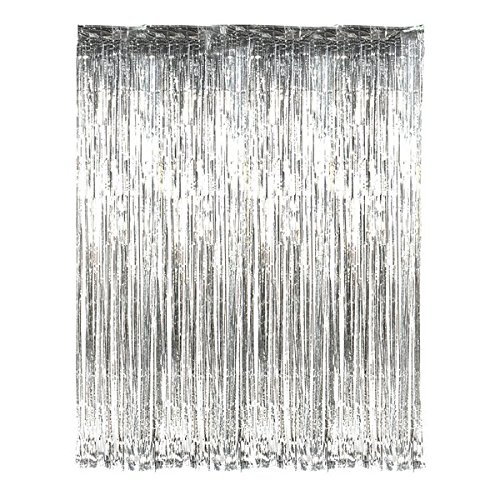 Infinxt Foil Curtain for Party Decoration 6ft x 3ft Size - Set of 4 (Silver)