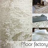 floor factory Hochflor Shaggy Teppich Prestige creme beige 80x150 cm - superweicher flauschiger Langflor Teppich