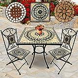 Jago Set da Giardino Mosaico | Tavolo Rotondo o Quadrato + 2 sedie Pieghevoli (Altezza Seduta 46 cm) | Colori e Design a Scelta (Beige-Bianco-Nero)