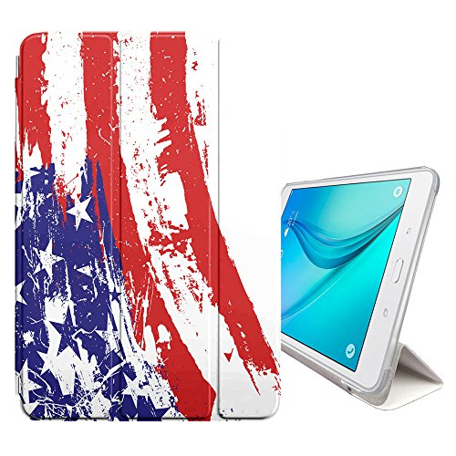 Graphic4You Farbeed Flag Amerikanisch USA Vereinigte Staaten Smart cover Hülle Dünn Tri-Fold Schlank Superleicht Ständer Cover Schutzhülle Tasche für Samsung Galaxy Tab E - 9.6