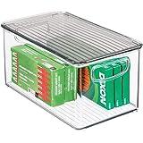 mDesign boite en plastique avec couvercle – boite rangement pour ustensiles de cuisine, accessoires de salle de bain pour fou