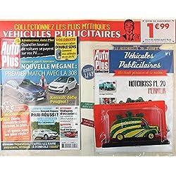 auto plus; nouvelle megane: premier match avec la 308 + collection véhicule publicitaire miniature Hotchkiss PL 20 Perrier
