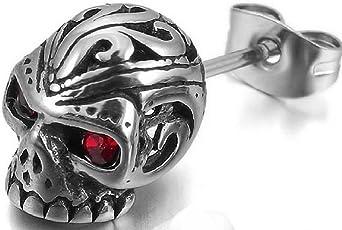 Yellow Chimes Monster Skull Single Stud Stainless Steel Earrings for Men and Boys