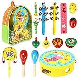 CrzKo Musikinstrumente Kinder, 15 Stück Holz Percussion Set Schlagzeug Schlagwerk Rhythm Toys Früherziehung Musik Kinderspielzeug für Kleinkinder Instrumentenset für Kinder und Baby mit Schultasche