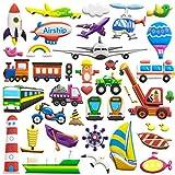 Puffy Aufkleber für Kinder 6Blatt (300+ Stück) Transport Car Themen-3D Cartoon Stil wiederverwendbar Schaumstoff Aufkleber Blatt, Spielzeug für Kids, Kinder, Jungen, Kleinkinder.