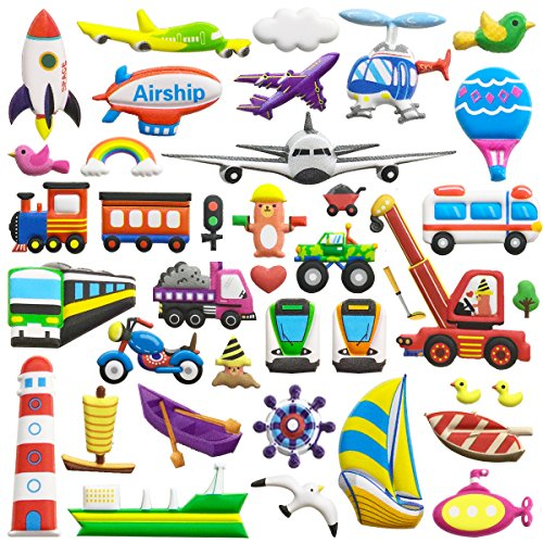 Adesivo gonfiabile per bambini 8 fogli (400+ pezzi) di adesivi per auto a tema 3d in stile cartone animato per il trasporto adesivi fogli di plastica, giocattoli per bambini, bambini, ragazzi, bambini piccoli.