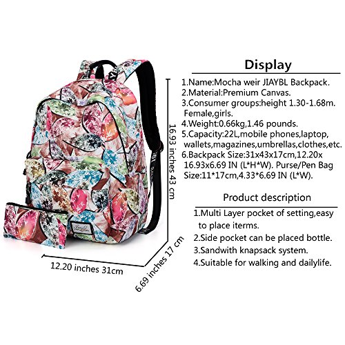 Mocha weir JIAYBL Laptop Taschen Schultern Kinder Schultaschen Rucksack Hochschule Mädchen Canvas Pack reisen (Rot Gefieder) Rote Blätter