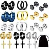 HUIMALL 12 Pairs Stud Earrings, Stainless Steel Mens Small Hoop Earrings Ear Piercing Screw Jewelry Barbell Studs Non…