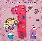 twizler 1. Geburtstagskarte für Mädchen mit Fee, Prinzessin, Geschenke und Schmetterling–One Year Old–Alter 1–Kinder Geburtstag–Mädchen Geburtstag Karte–Happy Birthday Karte