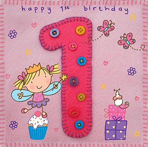 twizler 1. Geburtstagskarte für Mädchen mit Fee, Prinzessin, Geschenke und Schmetterling-One Year Old-Alter 1-Kinder Geburtstag-Mädchen Geburtstag Karte-Happy Birthday Karte