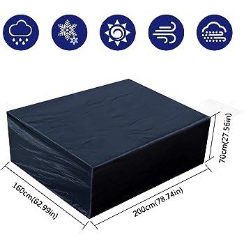 Fittolly Copertura per Mobili da Giardino - Rettangolare Impermeabile Telo Poliestere - per Mobili Esterni Tavolo e Sedie 200x160x70cm Nero
