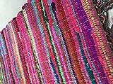 Second Nature Fair Trade Fransen Jahre Chindi Flickenteppich, Mehrfarbig,-Menü von vierzehn Größen erhältlich!, Baumwolle, Multi Colours, 120cm x 120cm