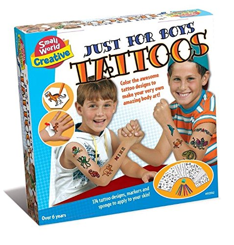 Become A Tattooist Just For Boys Tattoos - Party Fun Kit Arts & Crafts - Fun Body Art Toys Games Gift Present Idea For Stocking Fillers, Christmas Xmas Age 8+ Boy Boys Kids Children Child