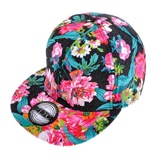 ZLYC Herren Frauen Unisex Mode Blumenmustern Einstellbare Casual Snapback Baseball Cap Jungen Mädchen Baseballmütze
