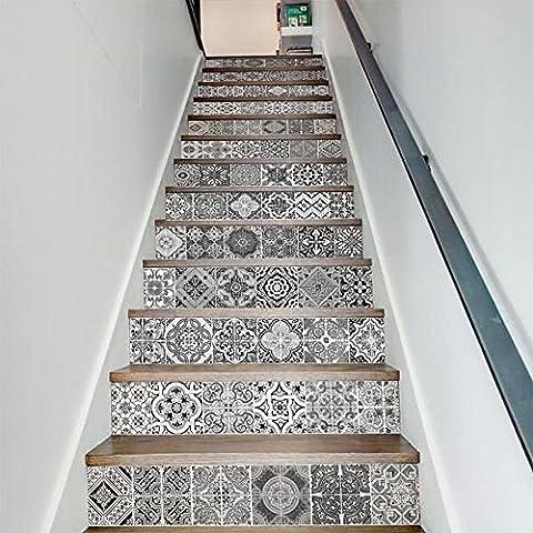 JHYS Auto-adhésif 3D Céramique Motifs de carrelage Vinyle Autocollant d'escalier Pour Accueil Escalier Amovible Décoration Papier décalé