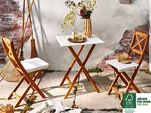 SAM 3-tlg. Balkongruppe Xenia, weiß, 1x Tisch 60x60 cm + 2x Klappstuhl, Balkon-Set aus Akazien-Holz