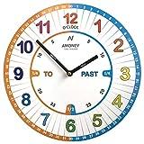 Amonev, VS1, orologio per imparare a leggere l'ora, da parete, per bambini, di facile lettura, con movimento silenzioso, un regalo perfetto, 30cm di diametro