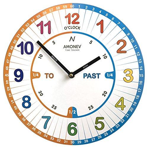 amonev VS1tiempo maestro reloj niños reloj de pared es un fácil de leer reloj con Silent movimiento. Un regalo perfecto, 30cm de diámetro