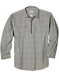 Key Apparel Men's Big & Tall Long Sleeve Zip Front Hickory Stripe Logger Shirt