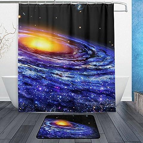 Baihuishop Nebula Universe Starry Système solaire Patternmachine lavable pour un usage quotidien, comprend 152,4x 182,9cm imperméable Rideau de douche, 12crochets de douche et 1antidérapant Tapis de salle de bain à la carpe