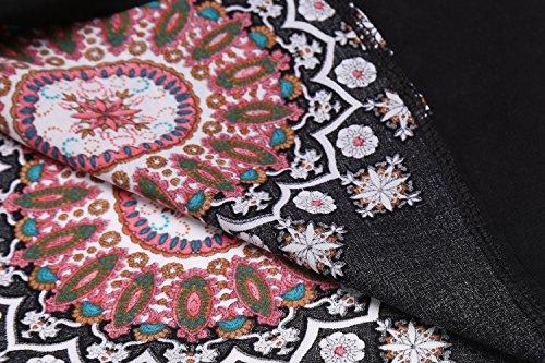 HOTOUCH Damen Longshirt Bohemian Tunika 3/4 Ärmel Shirt Ethno Mit Reißverschluss Typ1_Schwarz