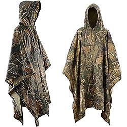 Aodoor Impermeable De Camuflaje, Poncho Camouflage, Ponchos impermeables, para Caza pesca, senderismo y acampada Chubasquero unisex.