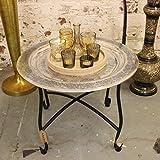 Maravi 50cm Round Table Plateau côté Morroccan Aluminium Floral poinçonné Motif