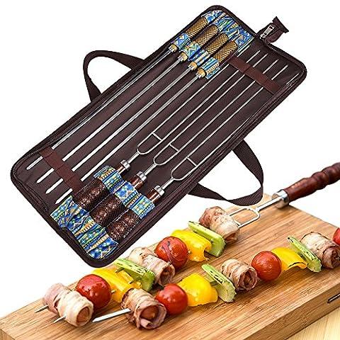 Angelbubbles Grillbesteck Grillgabel Grill Werkzeug BBQ Spieße 100% Edelstahl 304 + Hitzebeständige Holzgriff + tragbar Aufbewahrungstasche für Outdoor Camping Reisen (7)