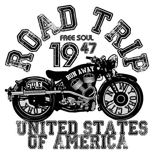 Wandtattoo USA Wandsticker Road Trip Motorrad mit Schriftzug für coole Biker Am (Motorrad Road Trip)