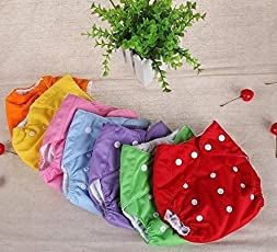 LUKZER Reusable New Adjustable Washable Baby Cloth Diaper, 0-2 Years (Multicolour)