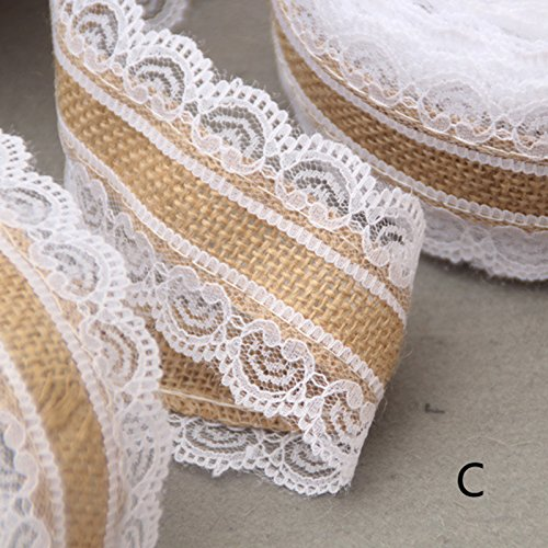 Lanlan Craft Ribbon für Heimwerker Crafts Home Hochzeit Party Dekoration 10m Vintage Jute burlaps mit weißer Spitze Rolle (Lace Trim Elfenbein)