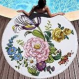 Runder Strand Handtuch Blumen-Large Microfiber Beach roundie Circle Picknick Teppich Yoga Mat 05