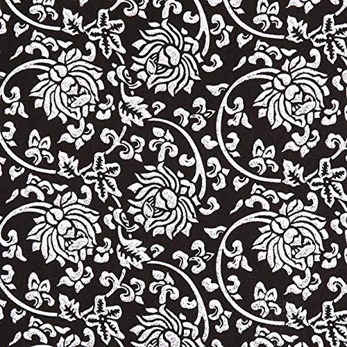 Fabulous Fabrics Viskosestoff Java Blumen - schwarz/Weiss - Meterware ab 0,5m - zum Nähen von Blusen, Hemden und Jumpsuits