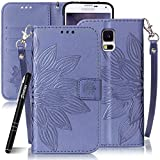 SlynmaxSchutzhülle für Samsung Galaxy S5 Mini Hülle PU Leder Tasche Flip Cover Case Wallet Blumen Mandala Hand Strap Lederhülle Lanyard Handyhülle Stand Ständer Karte Halter Klapphülle (Blau)