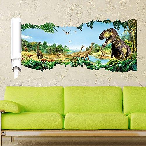 Wandaufkleber Dinosaurier im Jurassic Park Dschungel Bunte Dekorative Entfernbare DIY Vinyl Wandtattoo Wandstickers für Wohnzimmer, Schlafzimmer, Spielzimmer,Kinderzimmer ()