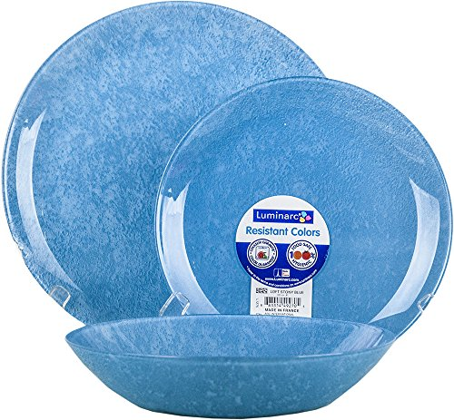 Arc international france loft stony servizio piatti 18pz, vetro, blu, 28x27.5x28 cm
