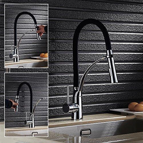 Auralum – Moderne Küchenarmatur mit flexibler Brause, Schwarz - 6